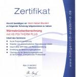 Zertifikat Wärmebrückenberechnung Psi-Therm